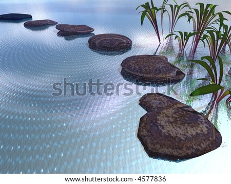 3d illustration of stepping stones in a pond - stock photo