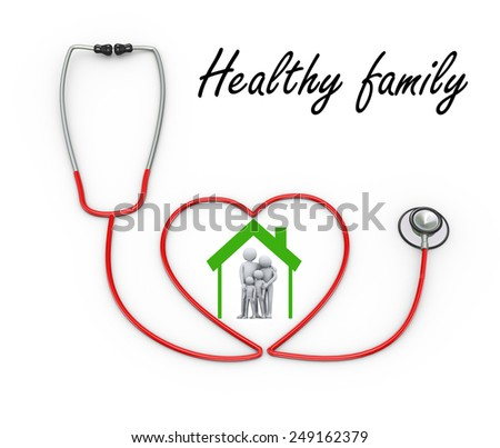 3d illustration of stethoscope design concept of healthy family.  3d rendering of people - human character and family love concept - stock photo