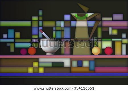 3D illustration of still life with geometric concept