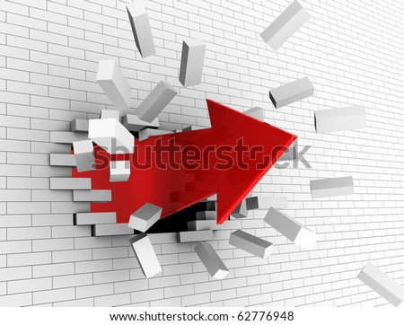 3d illustration of strong red arrow breaking white wall - stock photo