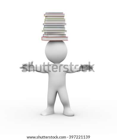 3d illustration of studen with pile of books on his head. 3d rendering of people - human character - stock photo