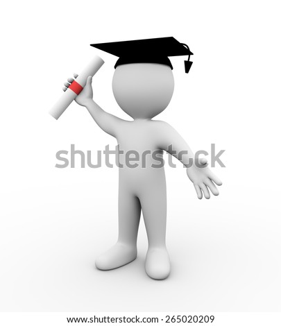 3d illustration of student wearing graduation attire and holding diploma certificate.  3d rendering of human people character - stock photo