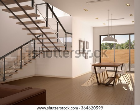 3d illustration of Stylish house interior with staircase - stock photo