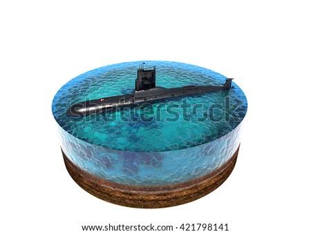 3d illustration of submarine on a white background. - stock photo