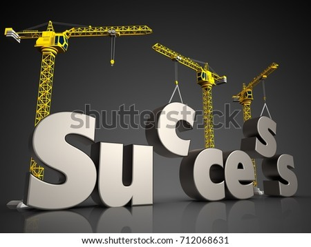 3d illustration of success sign with cranes over black background