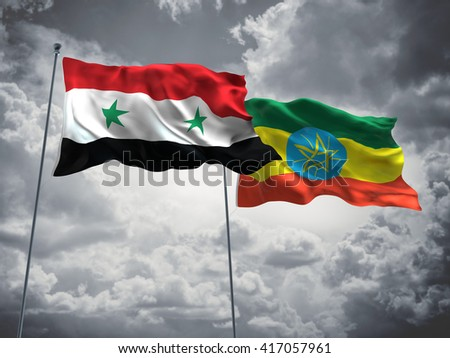 3D illustration of Syria & Ethiopia Flags are waving in the sky with dark clouds  - stock photo