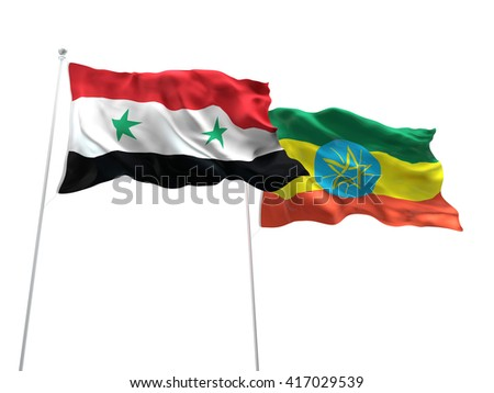 3D illustration of Syria & Ethiopia Flags are waving on the isolated white background - stock photo