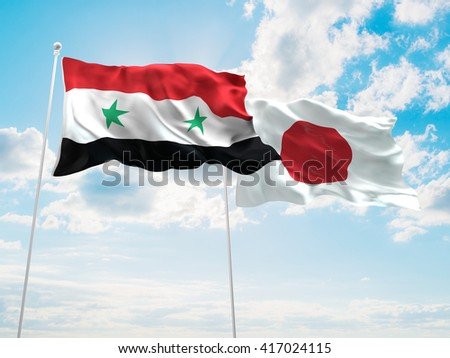 3D illustration of Syria & Japan Flags are waving in the sky - stock photo