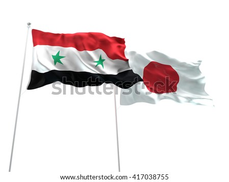3D illustration of Syria & Japan Flags are waving on the isolated white background - stock photo