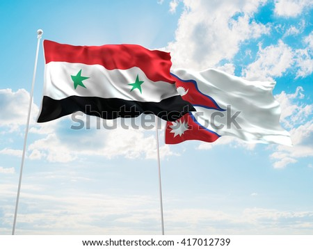 3D illustration of Syria & Nepal Flags are waving in the sky - stock photo