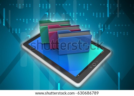 3D illustration of Tablet PC with file folder
