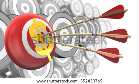 3d illustration of target sphere with arrows and dollar sign over many targets background
