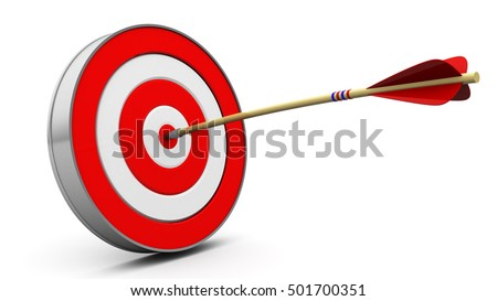 3d illustration of target with arrow hit in center
