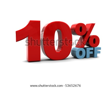3d illustration of ten percent discount sign, over white background - stock photo