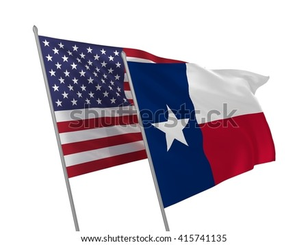 3d illustration of Texas State and USA flags waving in the wind - stock photo