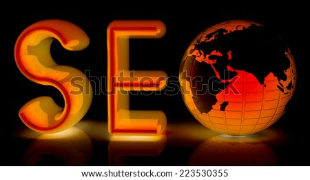 3d illustration of text 'SEO' with earth globe on a black background - stock photo