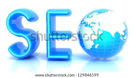 3d illustration of text 'SEO' with earth globe, symbol - stock photo