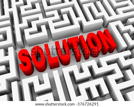 3d illustration of text solution in complicated endless puzzle labyrinth maze - stock photo