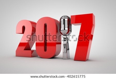 3D illustration of 2017 text with Microphone