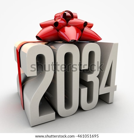 3D illustration of 2034  text wrapped up with red ribbon and bow
