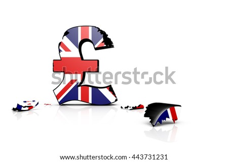 3d illustration of the battered British pound after the Brexit 2016 - stock photo