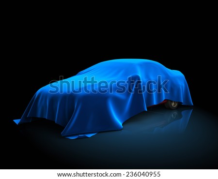 3D illustration of the car covered fabric. - stock photo