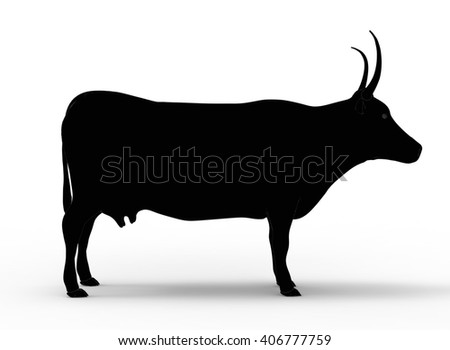 3D illustration of the cow, on white background isolated, with shadow, black silhouette