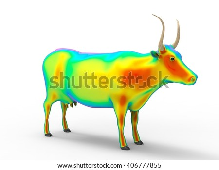 3D illustration of the cow, on white background isolated, with shadow, rainbow color - stock photo