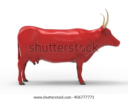 3D illustration of the cow, on white background isolated, with shadow, red paint - stock photo