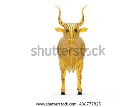 3D illustration of the cow, on white background isolated, with shadow, transparent, yellow lines glass - stock photo