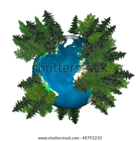 3D Illustration of the Earth globe covered with green trees