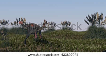 3d illustration of the gigantoraptor walking in grassland - stock photo