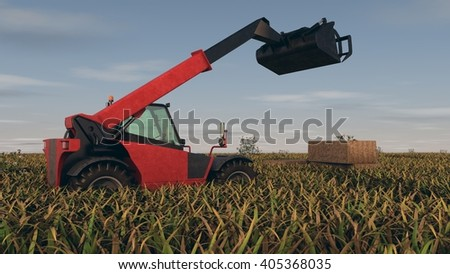 3d illustration of the hay loader - stock photo