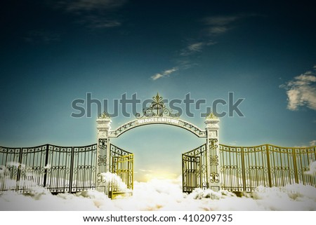 3d illustration of the heaven gate - stock photo