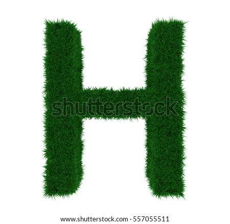 3D illustration of the letter H, with a grass texture and plain white background. Simple white background and high resolution render used for ease of isolation.