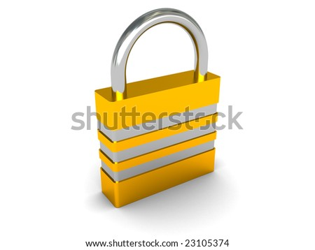 3d illustration of the lock over white background