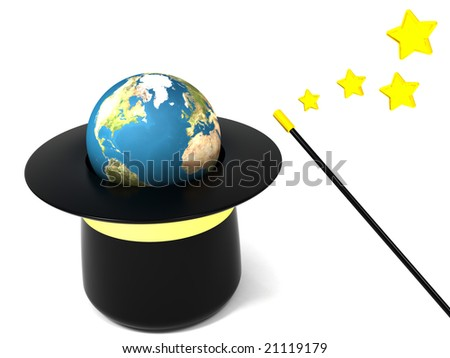 3d illustration of the magic hat with earth