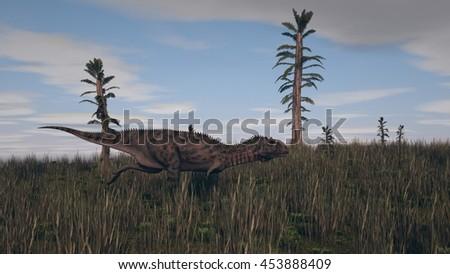3d illustration of the majungasaurus on grass terrain - stock photo