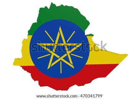 3D illustration of the map of Ethiopia in the colors of the national flag