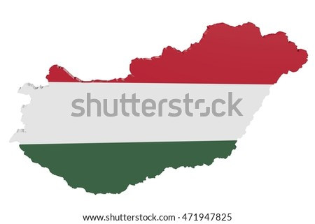 3D illustration of the map of Hungary in the colors of the national flag