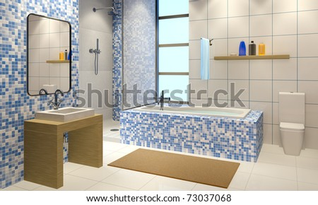 3d illustration of the modern bathroom interior - stock photo
