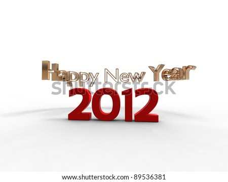 3d illustration of the new year in red with the words new year all around - stock photo