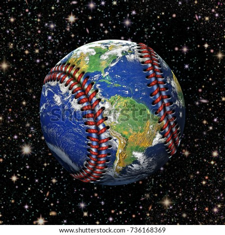 3D Illustration of the planet earth as a baseball with stars in the background.