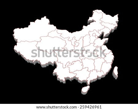 3d illustration of the provinces of china  - stock photo