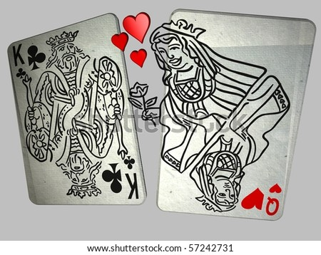 3D illustration of the Queen of Hearts seducing the King of Clubs - stock photo