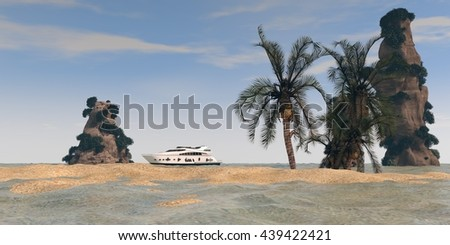 3d illustration of the tropic island with cliffs - stock photo