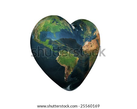 3d Illustration of the world in the shape of a heart. Environmentally friendly concept.