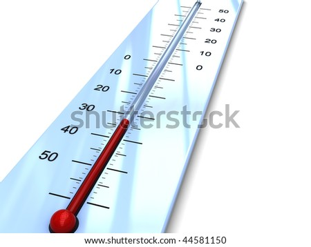 3d illustration of  thermometer with cold temperature - stock photo