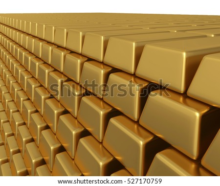 3D illustration of thousands of gold bullion bars piled high, representing enormous wealth or assets.