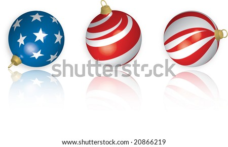 3D illustration of three American Flag-themed Christmas Bulbs with reflection on white background. - stock photo